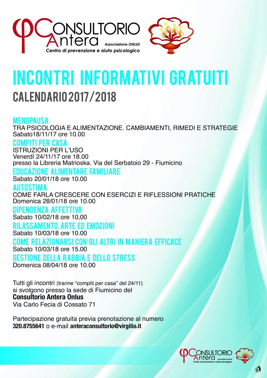 Calendario Menopausa.Calendario Prossimi Incontri 2017 2018